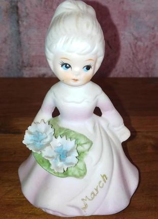 Статуэтка девочка с букетом,, керамика, англия