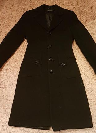 Зимнее черное теплое драповое пальто плащ 42/44