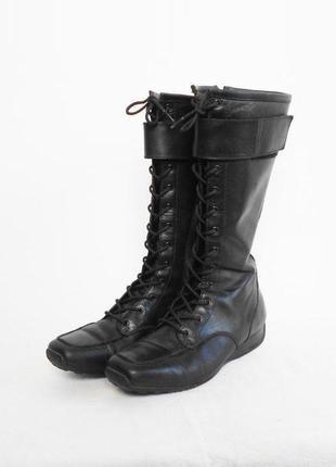 Черные кожаные осенние демисезонные спортивные сапоги geox низкий ход