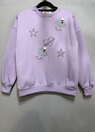 Женский милый и теплый свитшот на флисе с рисунком цвет фиолетовый