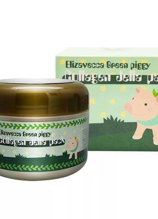 Гелевая коллагеновая маска elivecca green piggy collagen jella pack