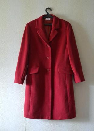 Красное демисезонное шерстяное пальто р.m-l 70%шерсть 10%кашемир best connections