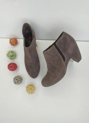 Замшевые ботиночки полусапоги тёмно бежевого цвета