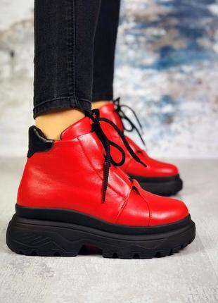 Натуральная кожа грубые зимние кожаные ботинки на массивной подошве