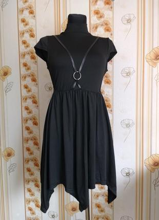 Платье миди ассиметричное черное с портупеей а-силуэт новое