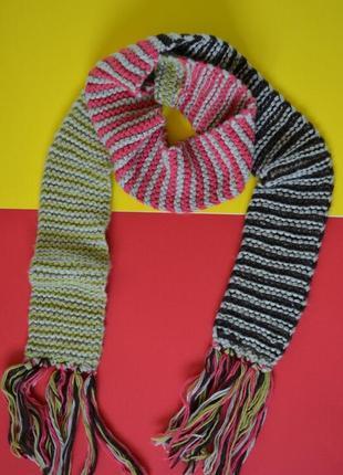 Цветной шарф крупной вязки