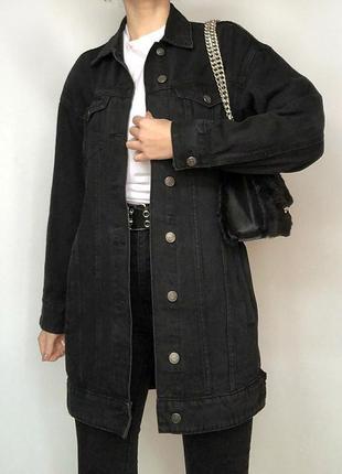 Обалденная удлиненная джинсовка denim oversize cropp town (джинсовая куртка)