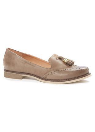 Кожаные туфли лоферы оксфорды броги 💯 натуральная кожа tu primark 39р новые