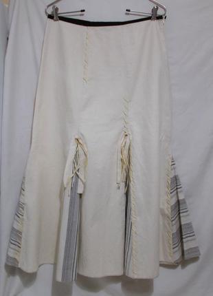 Новая юбка-клинка светло-желтая со вставками декор *james lakeland* италия 46-50р