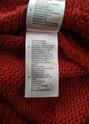 Красный свитер с золотой нитью6 фото