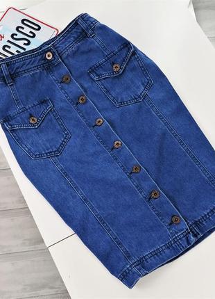 Джинсовая синяя юбка-карандаш на пуговицах в141332 yes