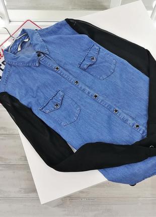Джинсовая рубашка с шифоновыми рукавами и спинкой  в140808 tally weijl размер eur36 (s)