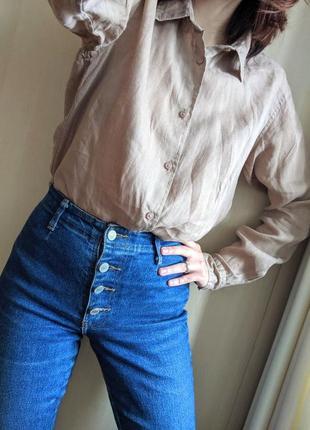 """Бежевая базовая льняная рубашка """"uniqlo"""", размер м"""