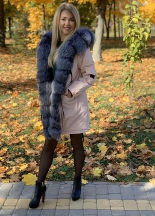 Парка  зимняя  с мехом чернобурки