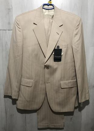 Мужской классический костюм odermark персиковый в бронзовую полоску 096 (50)