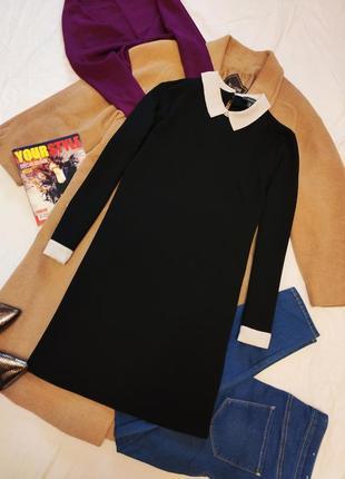 Платье прямое черное с белым воротником и манжетами свободное примарк