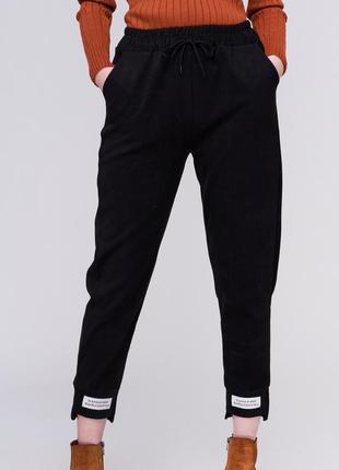 Удобные брюки спортивного кроя / штаны с высокой посадкой / черный