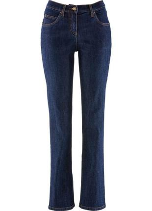 Прямые синие джинсы для высокой девушки