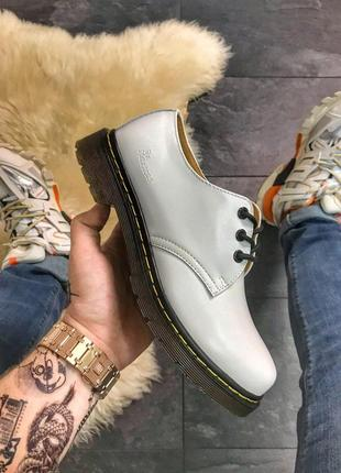 Шикарные кожаные туфли dr. martens 1461 white (унисекс) 😍
