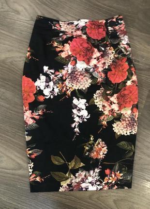 🔥 юбка-карандаш с завышенной талией в цветочный принт