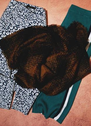 Большой осенний шарф в клетку