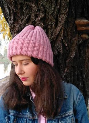 Шапка ручной работы розовая, рожева, теплая, на осень и зиму, базовая, тыковка!