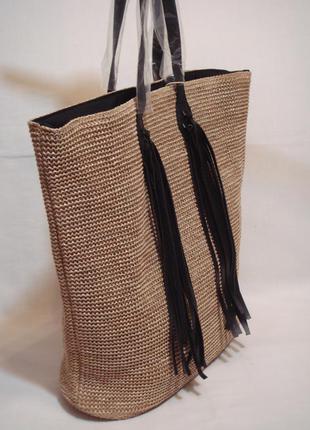 Новая стильная плетеная сумка-шоппер от бренда pieces