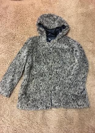 Куртка искусственный мех с капюшоном asos