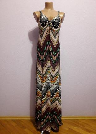 Красивый длинный в пол разноцветный сарафан платье от tu. размер 44.