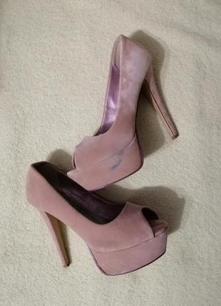 Бархатные босоножки туфли new look