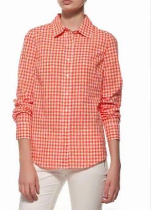 Стильная теплая натуральная рубашка в клетку размер 10-12 (40-44)