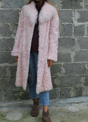Нежно розовое натуральное меховое французкое пальто morgan de toi