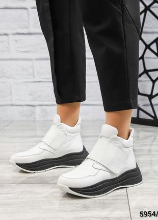 ❤ женские белые зимние кожаные спортивные ботинки сапоги ботильоны на шерсти ❤
