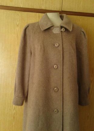 Красивое кофейное шерстяное демисезонное пальто трапецией,2xl-4xl.