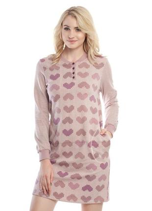 Стильное утепленное домашнее платье с сердечками.