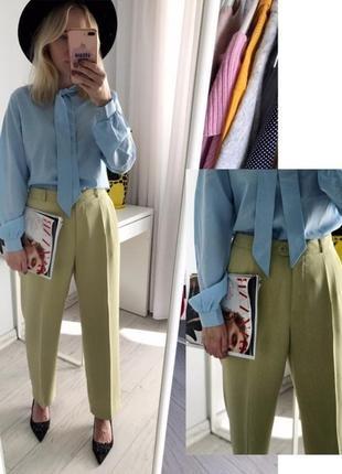 Очень крутые оливковые брюки с высокой талией