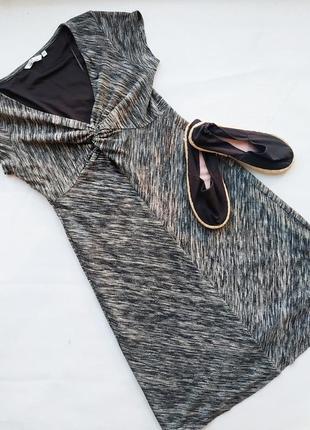 Трикотажное платье трапеция с узлом на груди tom tailor