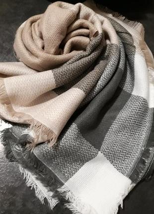 Тёплый мягенький платок плед клетка огромный