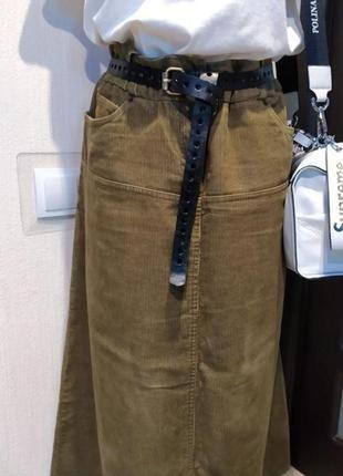Классная модная юбка трапеция макси вельветовая хаки