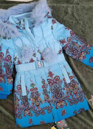 Полномерная зимняя тёплая куртка kiko на 6-9 лет. оригинал!