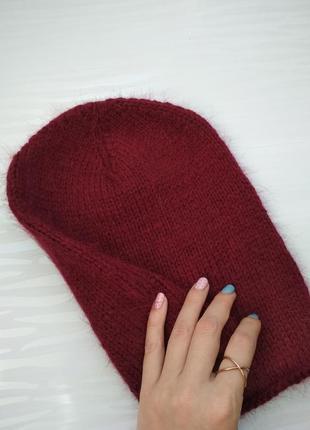 Вязаная шапка бини пух норки цвета марсала шапка ангора меринос hand made бордо