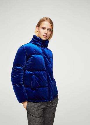 Плюшевая стёганая тёплая куртка mango eur l