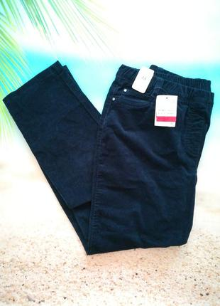Микровельветовые темно-синие брюки