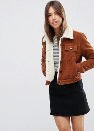 Стильная вельветовая куртка с искусственной овчины тренд 2019!
