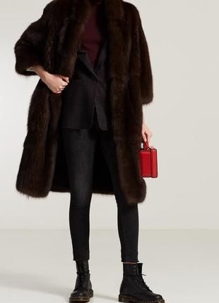 Брендовая темно-коричневая шуба с карманами mini barmink dunbar fabric акрил