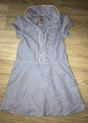Платье, сарафан голубое в клеточку