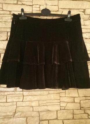 Цена снижена временно!бархатная,велюровая ярусная юбка,коричневый марсала