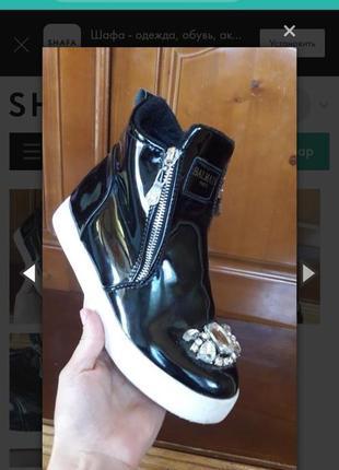 Новие ботинки лаковие лак черевики с молниею с камнями