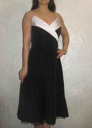 Платье your sixth sense by c&a миди чёрное с белым выпускное вечернее красивое