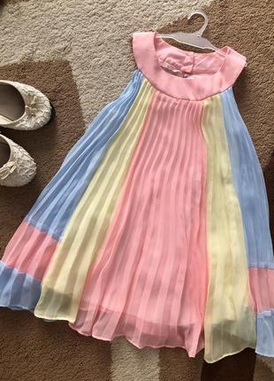 Нежное платье плиссе на девочку